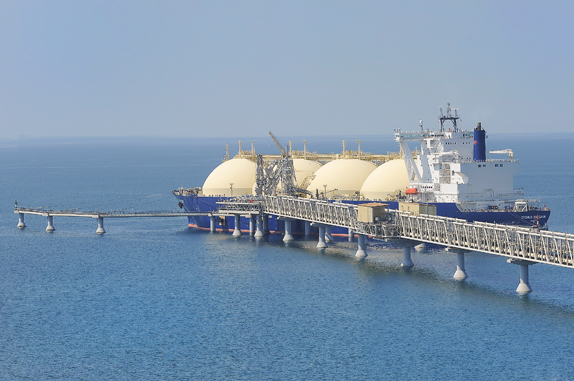 carrier at the LNG jetty, Prigorodnoye production complex